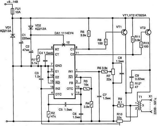 Повышающий обратноходовой преобразователь на tl494 схема