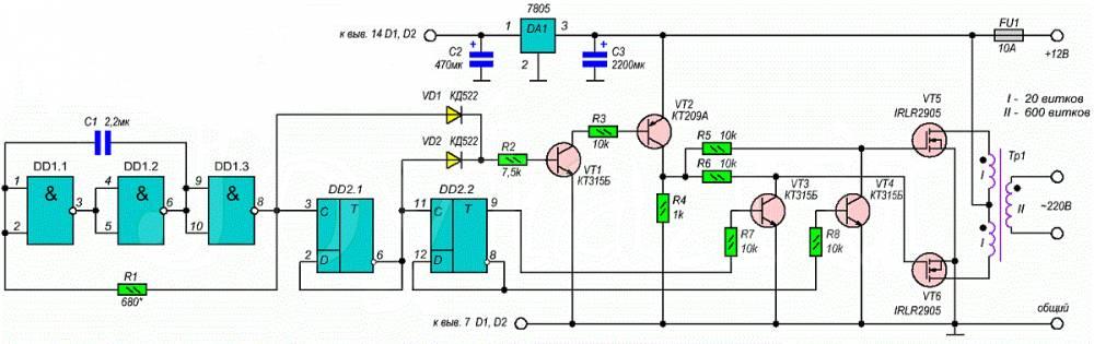 Преобразователь напряжения 12 / 220 50 Гц 500 Вт схема