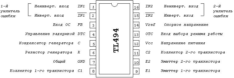 tl494cn схема включения и разводки