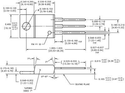 Цоколёвка и размеры стабилизатора 7805 в пластмассовом корпусе