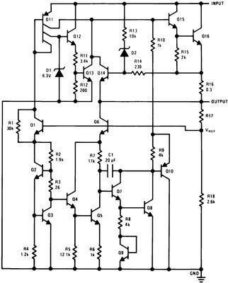 Внутренняя структура стабилизатора 7805